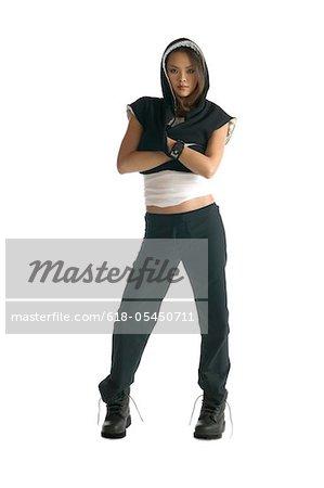young asian woman in hooded sweatshirt