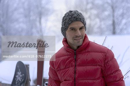 Portrait of man in warm clothing, winter