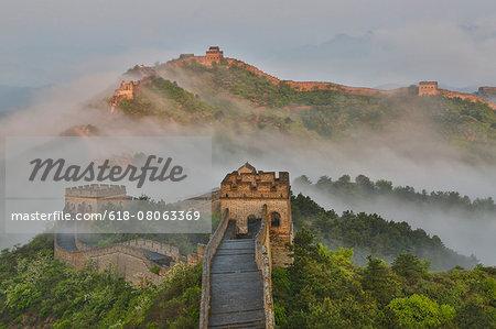 Foggy morning along Great Wall  of China