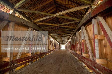 Covered bridge interior shows construction detail