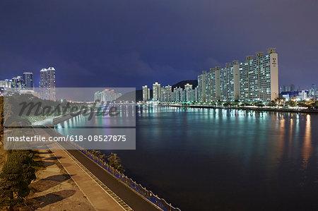 Apartments along Suyeong River in Busan