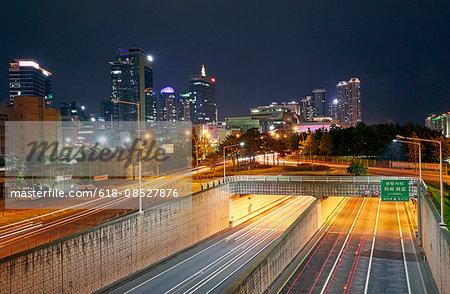 Skyline of Busan illuminated at night
