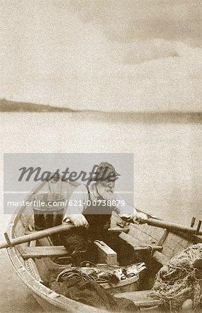 Old Fisherman in Row Boat