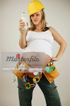 Pregnant Woman Wearing Construction Worker Uniform