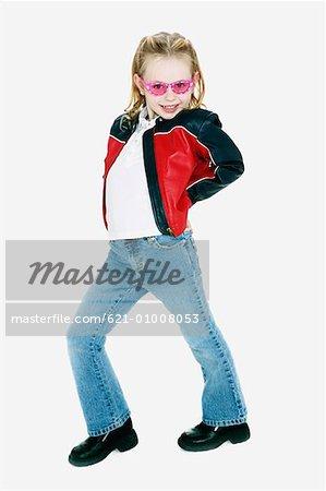 Little Girl in Sunglasses Posing