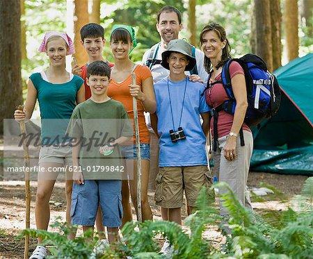 Family portrait at campsite