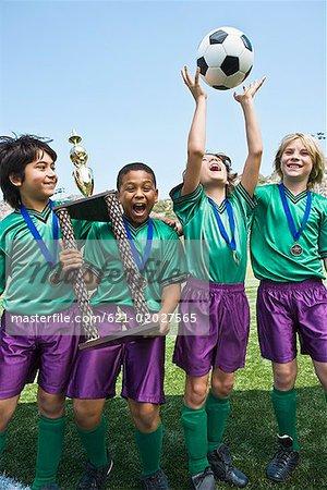 Winning boys' soccer team