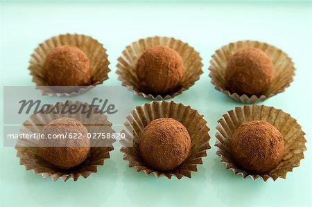 Chocolate Truffle on Green Background