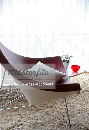 Modern Chair With Cushion On Rug