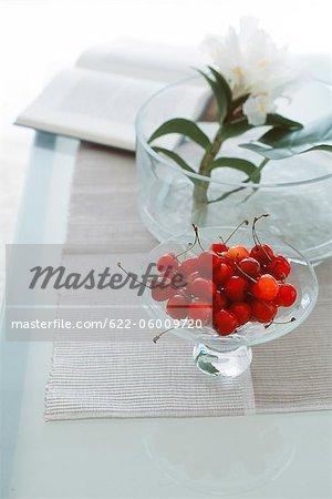 Fresh Red Cherries In Crystal Bowl