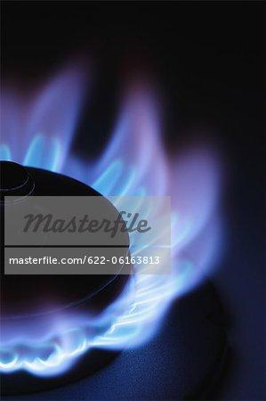 Lit Stove Flame