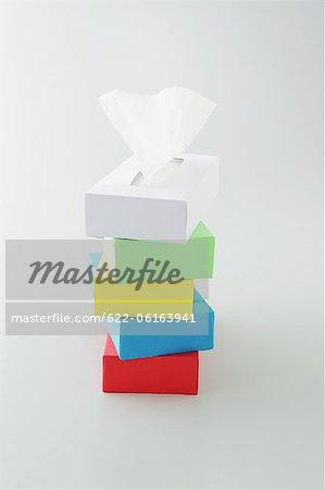 Stack Of Multicolor Tissue Box