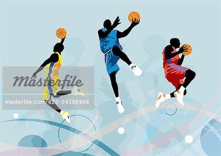 Basketball Player Jumping, Illustration