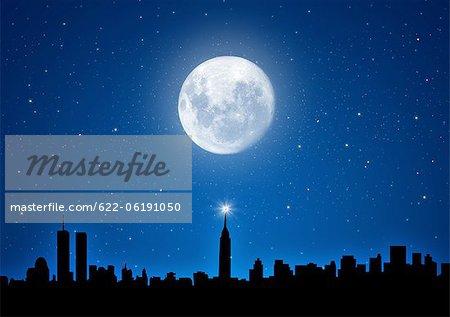 Cityscape And Full Moon In Sky, Night Scene