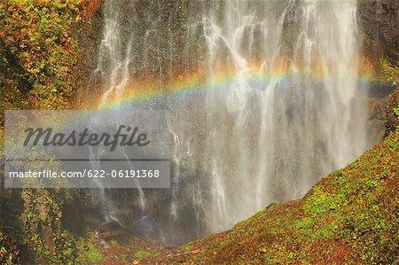 Rainbow And Waterfalls, Moss Covered Rocks