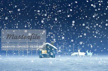 Illustration of hut and snow
