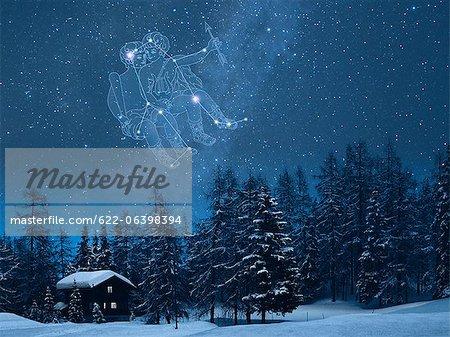 Gemini constellation in the snowy Switzerland