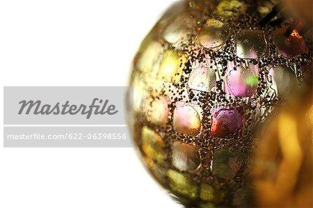 Close up of metallic Christmas decoration