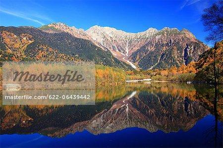 Mount Yakedake reflecting on Taisho Pond in Matsumoto, Nagano Prefecture