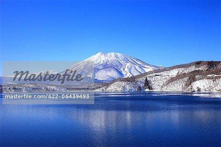 Mountains covered in snow and Nojiri lake in Shinanomachi, Nagano Prefecture