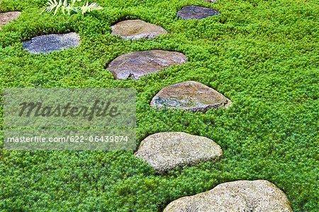 Stepping Stones In Traditional Anese Garden Takayama Gifu Prefecture Stock Photo