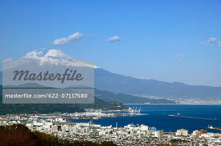 Mount Fuji and Shimizu harbor, Shizuoka Prefecture