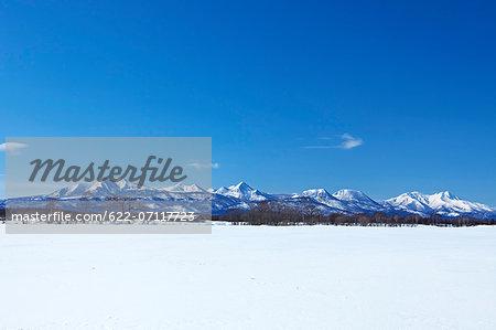 Snow field and mountains in Shibetsu, Hokkaido