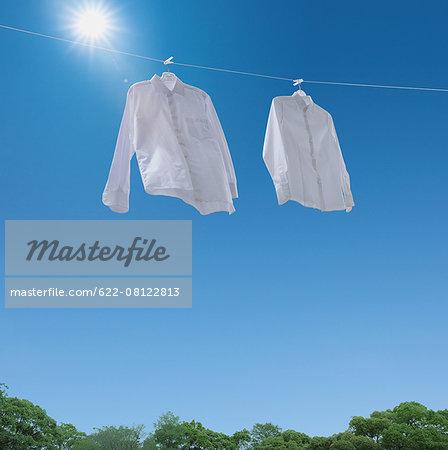 Laundry drying up on washing line