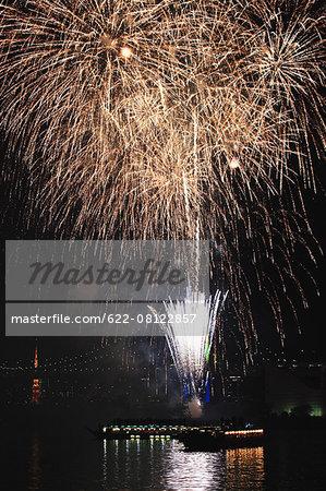 Fireworks in Odaiba bay, Tokyo, Japan