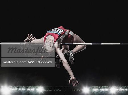 High jump female athlete