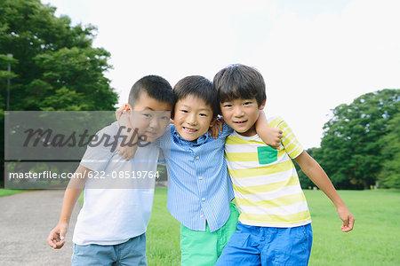 Japanese kids looking at camera