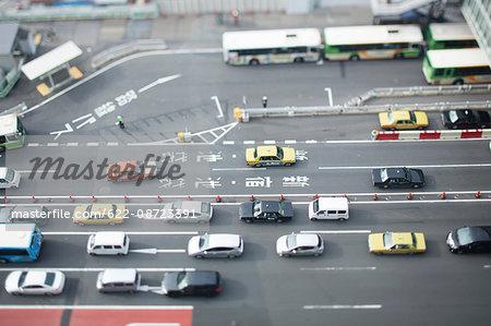 Tilt-shift bird's eye view of street in Tokyo, Tokyo, Japan