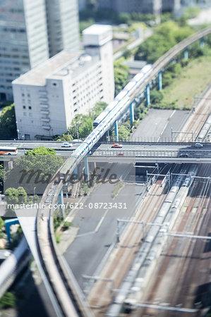 Tilt-shift bird's eye view of Tokyo, Tokyo, Japan