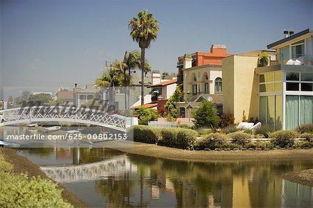 Bridge built over a canal, Venice Los Angeles, California, USA