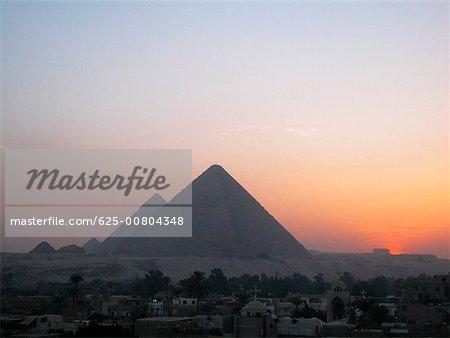 Pyramids at dusk, Giza Pyramids, Giza, Cairo, Egypt