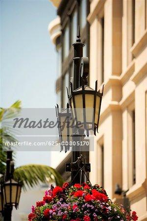 Ornate street light on a street, Rodeo Drive, Los Angeles, California, USA