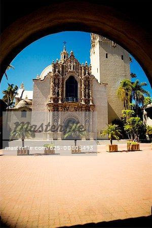 Facade of a Spanish style building, San Diego, California, USA