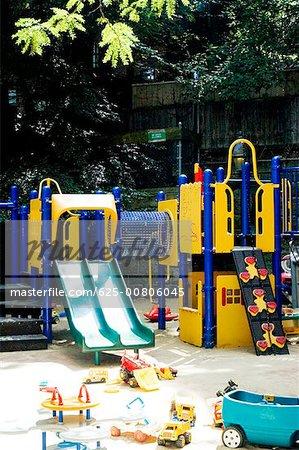 Playground at a schoolyard, Boston, Massachusetts, USA