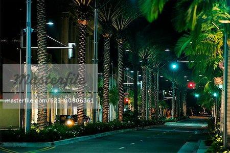 Street at night, Rodeo Drive, Los Angeles, California, USA