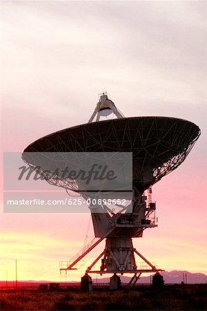 Radio telescope on a landscape, VLA radio telescope, New Mexico, USA