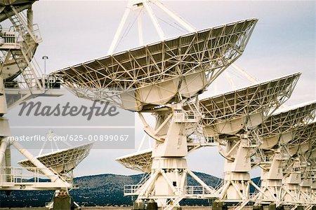 Radio telescopes on a landscape, VLA radio telescope, New Mexico, USA
