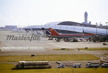 High angle view of airplanes at an airport, Kansai International Airport, Osaka, Japan