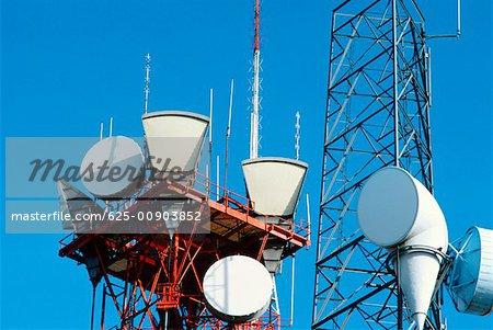 Low angle view of microwave radio towers, Washington DC, USA