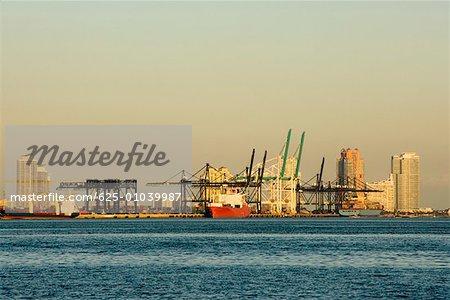 Cruise ship at a harbor, Miami, Florida, USA