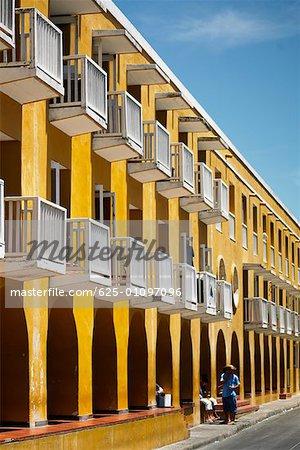 Row of balconies in a building, Cartagena, Colombia