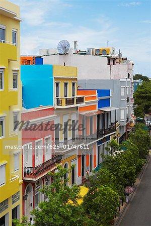 High angle view of buildings along a road, Old San Juan, San Juan, Puerto Rico