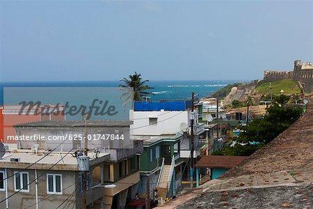 Buildings at the seaside, La Perla, Old San Juan, San Juan, Puerto Rico