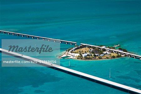 Aerial view of two bridges and an island, Florida Keys, Florida, USA