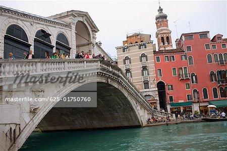 Group of people on the bridge, Rialto Bridge, Grand Canal, Venice, Italy