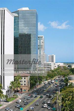 High angle view of traffic on the road, Honolulu, Oahu, Hawaii Islands, USA